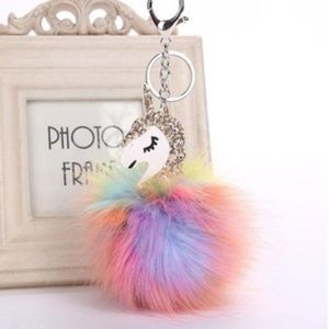 Gold Sparkle Unicorn Fluffy Key Chain Bag Charm